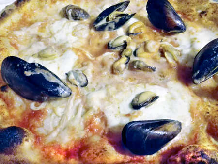 dinnertime: Pizza with mussels Stock Photo