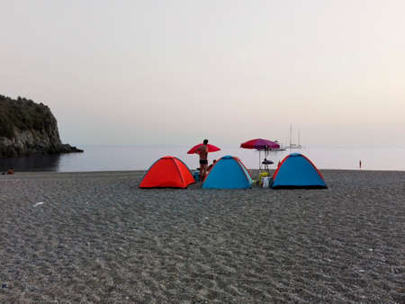 camping pitch: People camping out