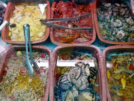 dinnertime: Vegetables preserved in oil