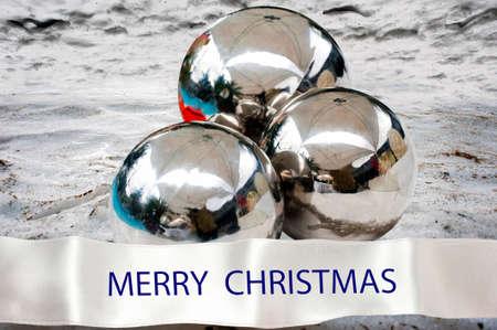 Balls on the snow as a Christmas card
