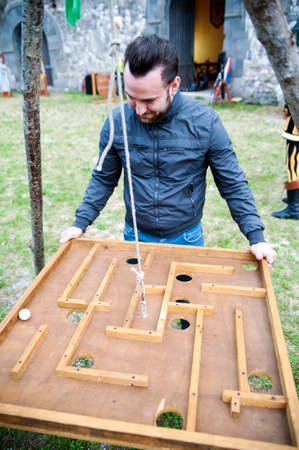 Medieval wooden game photo