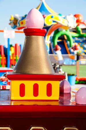Garish toys in the amusement park Stock Photo