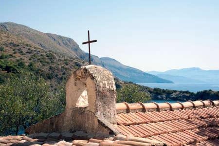 The very small church of Saint Lazarus on the hill overlooking Infreschi cove, Marina di Camerota, Italy
