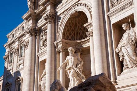 Fountain of Trevi, Rome. The statues Ocean by Pietro Bracci , Abundance and Healthiness by Filippo Della Valle, Roma, Italy