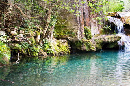 Small waterfalls created from the spring of the Bussento river, Casaletto Spartano, Salerno Italy. Archivio Fotografico