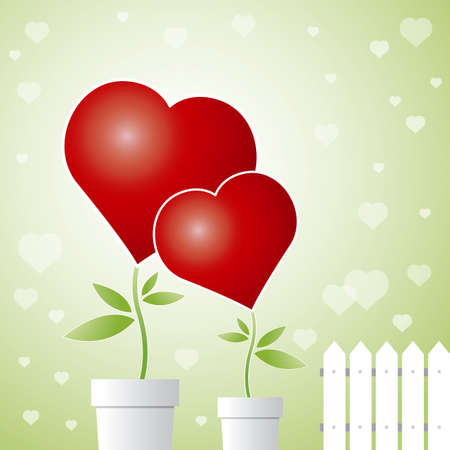 Conceptual love design of  tree and  hearts