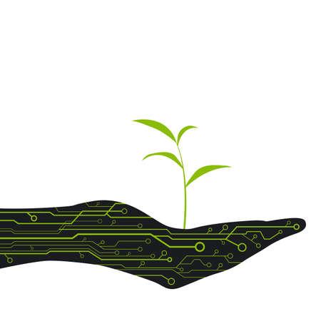 creare: Crea l'albero a portata di mano con chip per la progettazione Vettoriali
