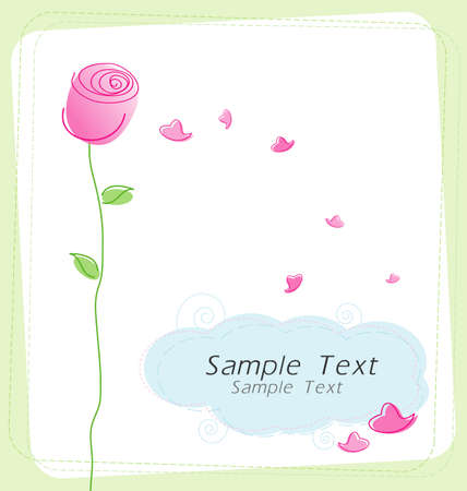 Rose and hearts on white background  Vector