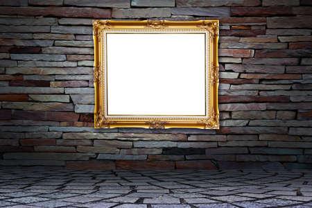 Frame on stone wall photo