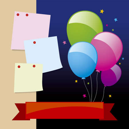 aniversary: Balloon and notepad design for new year background