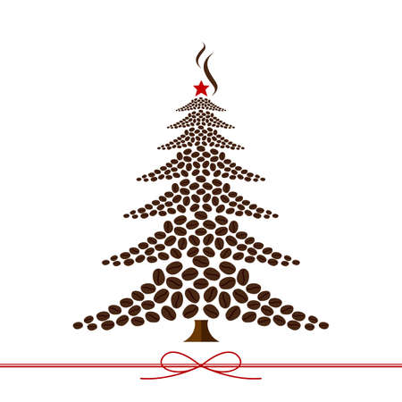 Christmas tree design from coffee beans Vector