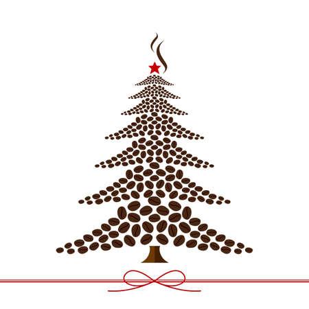 Kerst boom ontwerp van koffiebonen