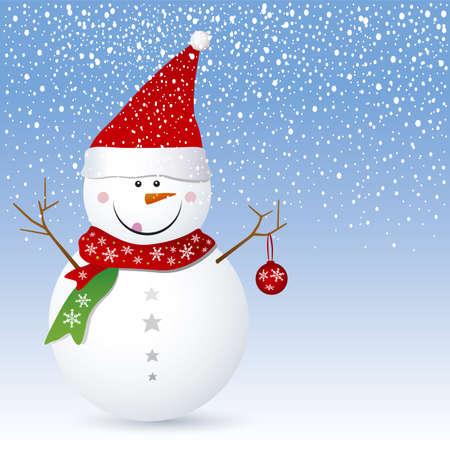 Snowman design for christmas background Stock Vector - 16381172