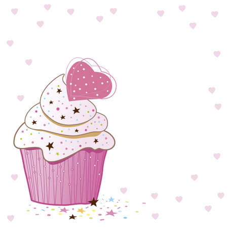 Cupcakes design on white background Illustration