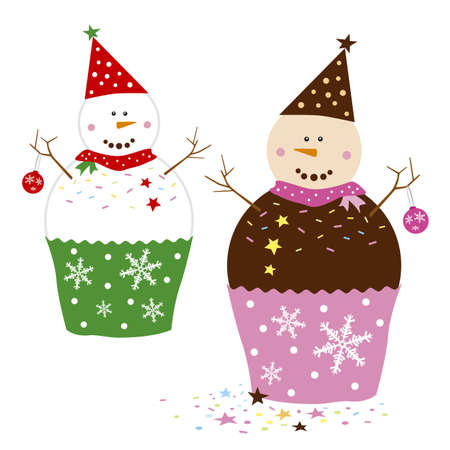 christmas cake: Cupcakes design on white background Illustration