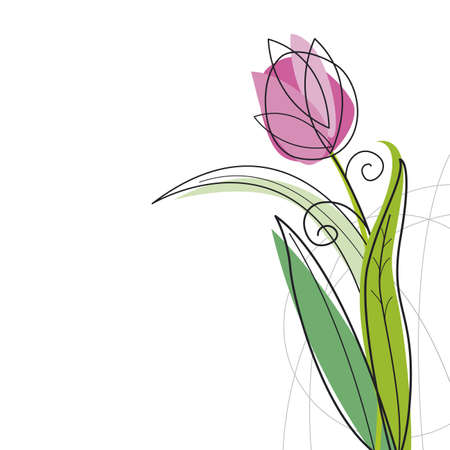 Tulip design on white background 일러스트