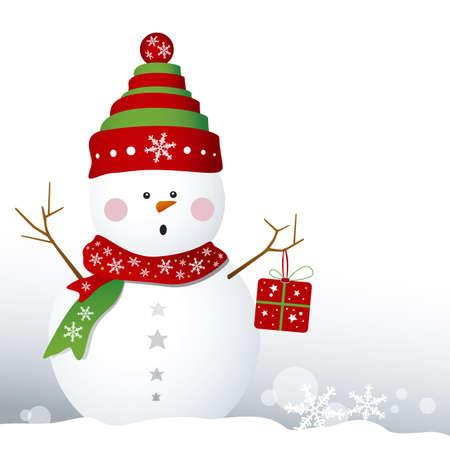 Snowman design for christmas background Stock Vector - 16436407