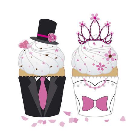 wedding backdrop: Design Cupcakes su sfondo bianco Vettoriali