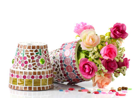 Rose and mosaic flower pot  I made myself mosaic flower pot  photo