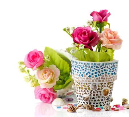 Rose and mosaic flower pot  I made myself mosaic flower pot