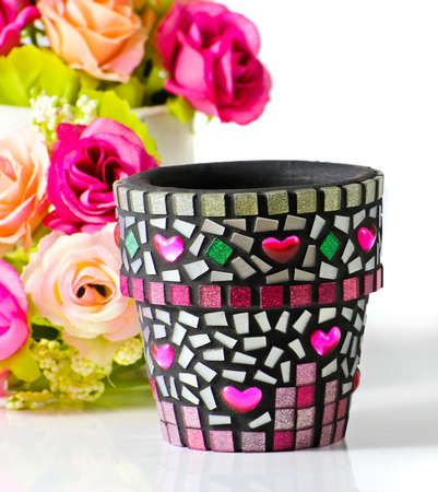 Mosaic flower pot  I made myself mosaic flower pot   Stock Photo