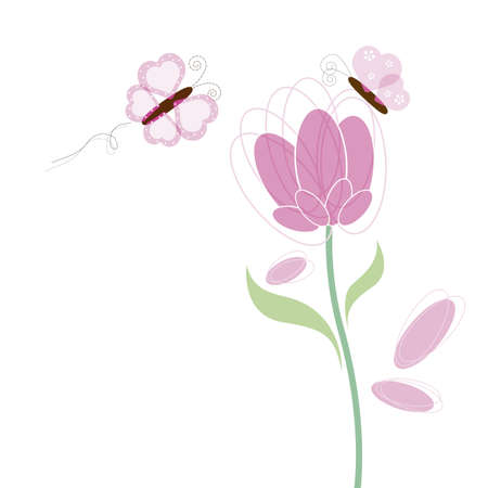 Butterfly and flower design white background Stock Vector - 17528567