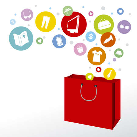 mobile shopping: Shopping bag and fashion icon design