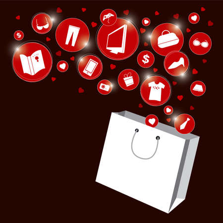 red retail: Shopping bag and fashion icon design