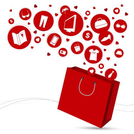 shopping bag icon: Einkaufstasche und Mode-Ikone Design