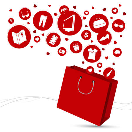 fashion bag: Shopping bag and fashion icon design