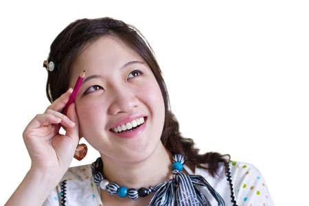 collegian: Asian woman thinking