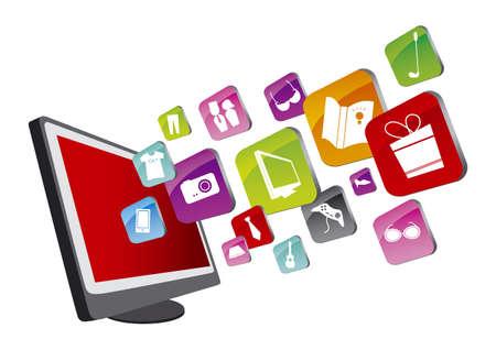bottons: Shopping online Illustration