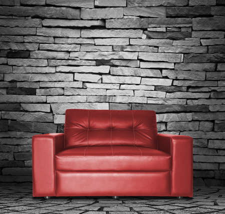 red leather texture: Red sofa in the room Stock Photo