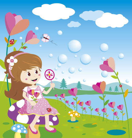 Girl blowing bubbles in the flowers garden Vector