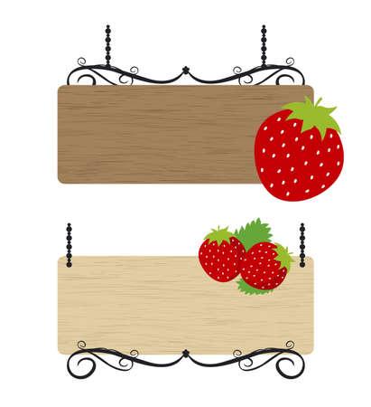 pancarte bois: Signe de fraise des bois Illustration