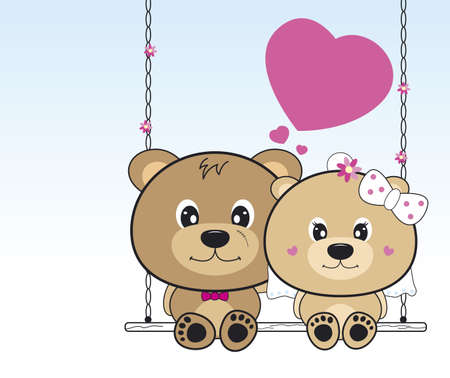 teddy bear cartoon: Wedding bears sitting on a swing Illustration