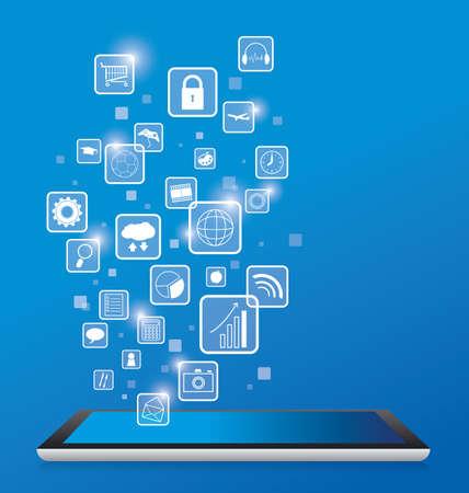tablette pc: Tablet PC et les ic�nes d'affaires