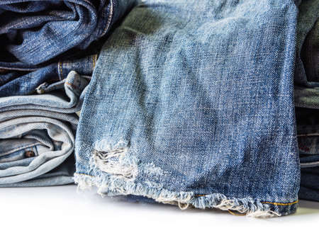 rend: Blue jeans on white background Stock Photo