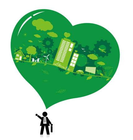 think green: Piense dise�o conceptos verdes sobre fondo blanco