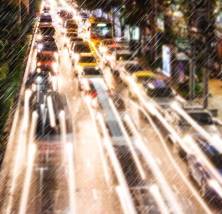 Light traffic on a rainy night  版權商用圖片