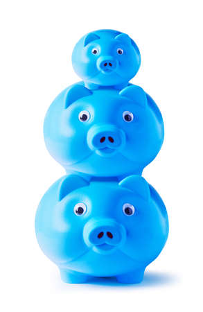 Blue piggy bank family on white background  photo