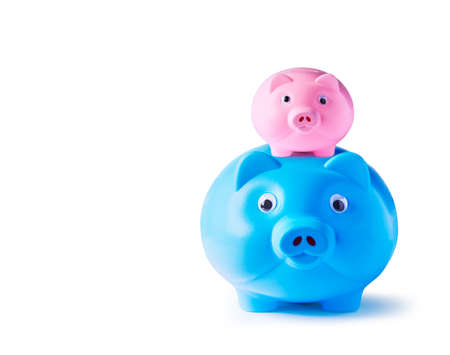 Piggy bank family on white background  photo