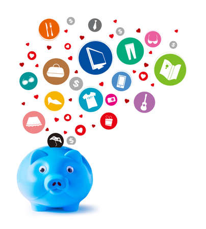 Blue piggy bank and shopping icons on white background  photo