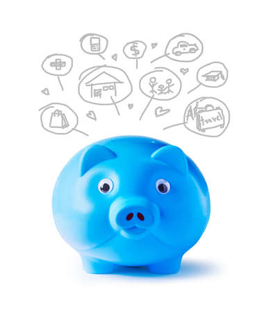 Blue piggy bank and icons design to represent the concept of saving money  photo