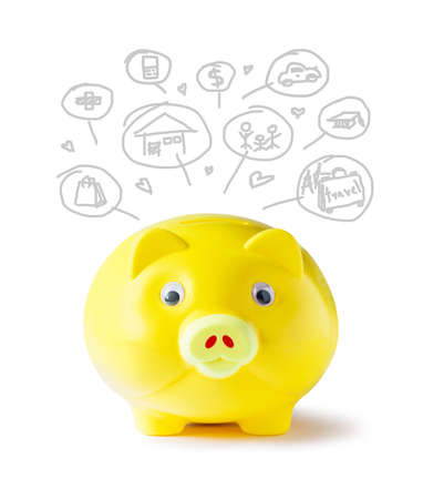 Yellow piggy bank and icon design to represent the concept of saving money  photo