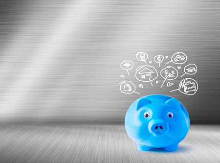 pig iron: Blue piggy bank and icons design to represent the concept of saving money  Stock Photo