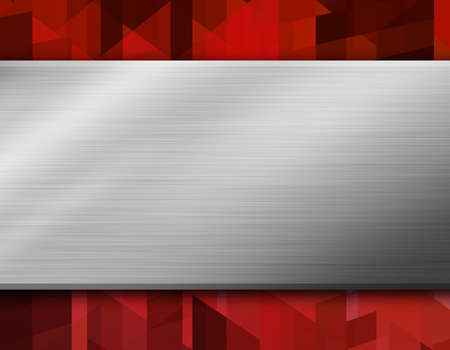 black and silver: Metal on red abstract background design