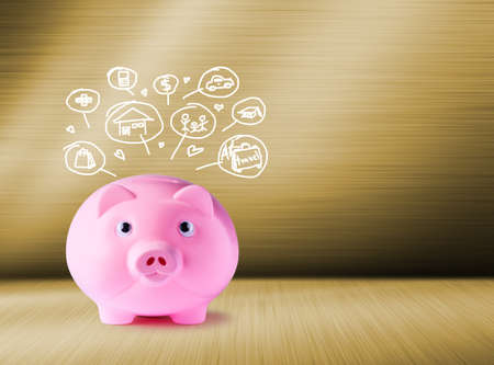 pig iron: Pink piggy bank and icons design to represent the concept of saving money