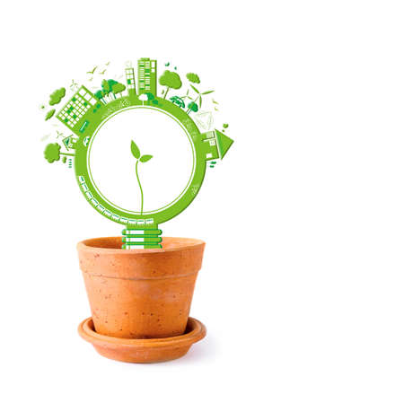 Ecology concepts design on white background photo