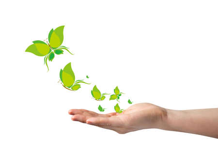 Hand and leaves butterflies design for Think green concept